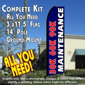 30K 60K 90K MAINTENANCE (Blue) Flutter Feather Banner Flag Kit (Flag, Pole, & Ground Mt)