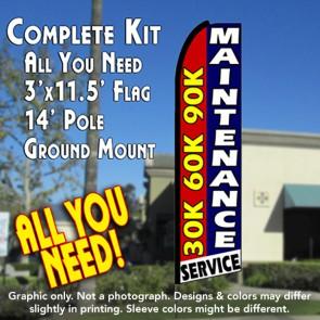 30K 60K 90K MAINTENANCE SERVICE Flutter Feather Banner Flag Kit (Flag, Pole, & Ground Mt)