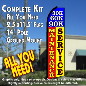 30K 60K 90K MAINTENANCE SERVICE (Blue/Red/Yellow) Flutter Feather Banner Flag Kit (Flag, Pole, & Ground Mt)