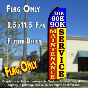 30K 60K 90K MAINTENANCE SERVICE (Blue/Red/Yellow) Flutter Polyknit Feather Flag (11.5 x 2.5 feet)