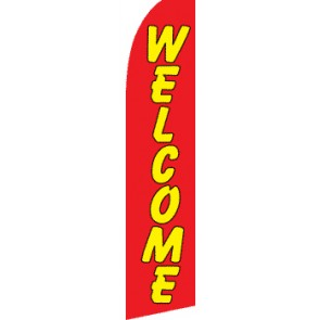 WELCOME (Red/Yellow) Flutter Feather Banner Flag (11.5 x 2.5 Feet)