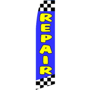 Repair (Blue/Checkered)  Feather Banner Flag Kit (Flag, Pole, & Ground Mt)