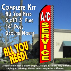 A/C SERVICE (Checkered) Flutter Feather Banner Flag Kit (Flag, Pole, & Ground Mt)