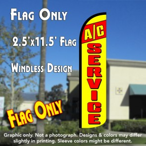 A/C SERVICE (Red/Yellow) Windless Polyknit Feather Flag (2.5 x 11.5 feet)