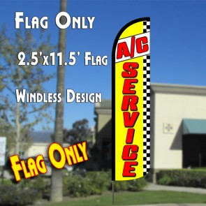 A/C SERVICE (Yellow/Checkered) Windless Polyknit Feather Flag (2.5 x 11.5 feet)