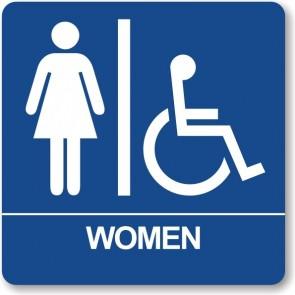 "ADA Signs 8"" x 8"" Woman w/wheel chair"