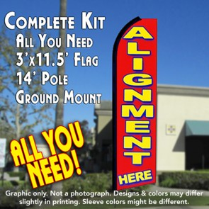 ALIGNMENT HERE (Red) Flutter Feather Banner Flag Kit (Flag, Pole, & Ground Mt)