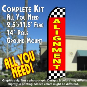ALIGNMENT (Red/Checkered) Flutter Feather Banner Flag Kit (Flag, Pole, & Ground Mt)