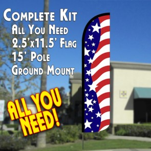 USA AMERICAN BEAUTY Windless Feather Banner Flag Kit (Flag, Pole, & Ground Mt)