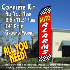 AUTO ALARM Windless Feather Banner Flag Kit (Flag, Pole, & Ground Mt)