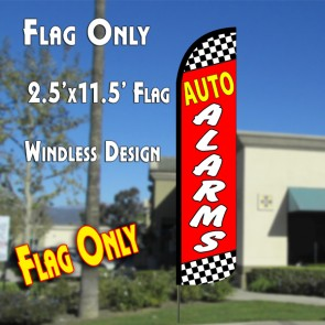 AUTO ALARMS (Checkered/Red) Windless Polyknit Feather Flag (2.5 x 11.5 feet)