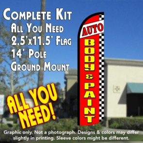 AUTO BODY & PAINT (Red/Checkered) Windless Feather Banner Flag Kit (Flag, Pole, & Ground Mt)
