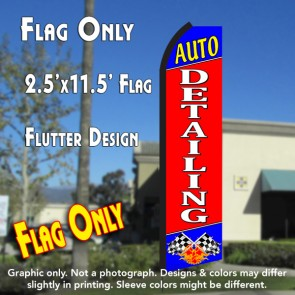 AUTO DETAILING (Blue/Red) Flutter Feather Banner Flag (11.5 x 2.5 Feet)