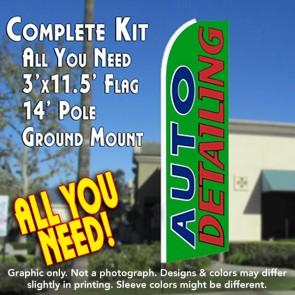 AUTO DETAILING (Green) Flutter Feather Banner Flag Kit (Flag, Pole, & Ground Mt)