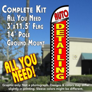 Auto Detailing (Checkered) Windless Feather Banner Flag Kit (Flag, Pole, & Ground Mt)