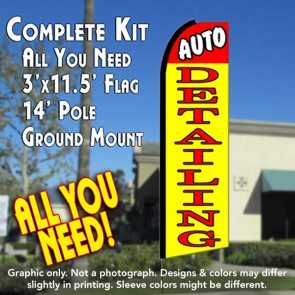 AUTO DETAILING (Red/Yellow) Flutter Feather Banner Flag Kit (Flag, Pole, & Ground Mt)