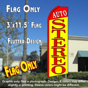 AUTO STEREO (Red/Yellow) Flutter Feather Banner Flag (11.5 x 3 Feet)