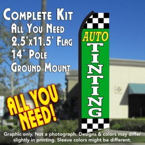 AUTO TINTING (Green/Checkered) Flutter Feather Banner Flag Kit (Flag, Pole, & Ground Mt)