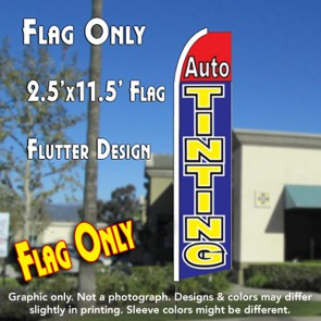 AUTO TINTING (Red/Blue) Flutter Feather Banner Flag (11.5 x 2.5 Feet)