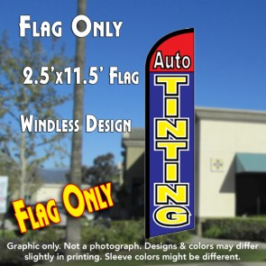 AUTO TINTING (Red/Blue) Windless Feather Banner Flag (2.5 x 11.5 Feet)