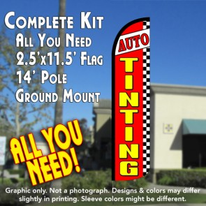 AUTO TINTING (Red/Checkered) Windless Feather Banner Flag Kit (Flag, Pole, & Ground Mt)