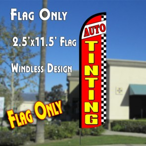 AUTO TINTING (Red/Checkered) Windless Polyknit Feather Flag (2.5 x 11.5 feet)