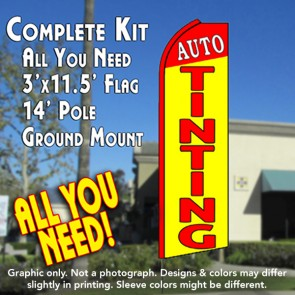 AUTO TINTING (Red/Yellow) Flutter Feather Banner Flag Kit (Flag, Pole, & Ground Mt)