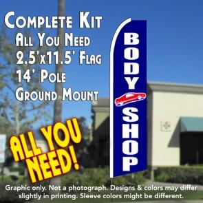BODY SHOP (Blue) Flutter Feather Banner Flag Kit (Flag, Pole, & Ground Mt)