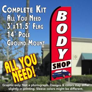 BODY SHOP (Red/White) Flutter Feather Banner Flag Kit (Flag, Pole, & Ground Mt)