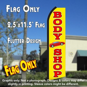 BODY SHOP (Yellow/Red) Flutter Polyknit Feather Flag (11.5 x 2.5 feet)