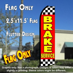 BRAKE SERVICE (Red/Checkered) Flutter Polyknit Feather Flag (11.5 x 2.5 feet)