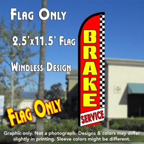 BRAKE SERVICE (Red/Checkered) Windless Polyknit Feather Flag (2.5 x 11.5 feet)