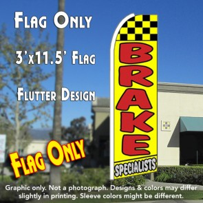 BRAKE SPECIALISTS (Yellow) Flutter Feather Banner Flag (11.5 x 3 Feet)