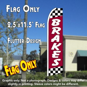Brakes (Red/Checkered) Flutter Feather Banner Flag (11.5 x 2.5 Feet)