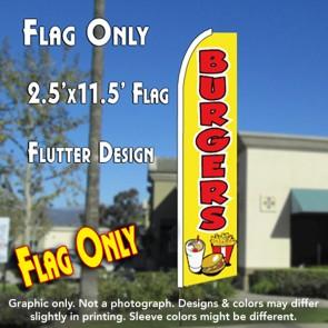 BURGERS (Yellow) Flutter Feather Banner Flag (11.5 x 2.5 Feet)