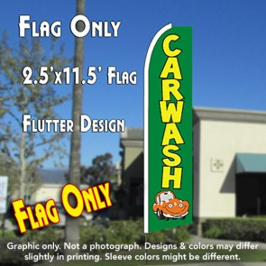 CAR WASH (Green/Car) Flutter Feather Banner Flag (11.5 x 2.5 Feet)