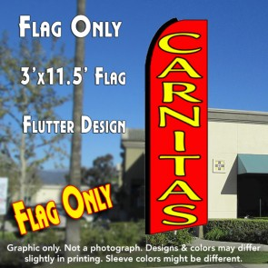 CARNITAS (Red) Flutter Feather Banner Flag (11.5 x 3 Feet)