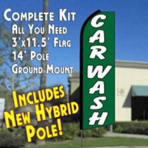 Car Wash (Green/White)  Feather Banner Flag Kit (Flag, Pole, & Ground Mt)