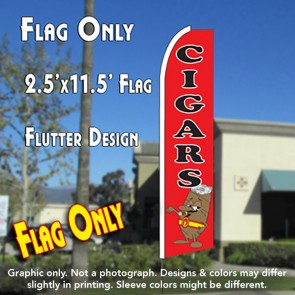 CIGARS (Red) Flutter Feather Banner Flag (11.5 x 2.5 Feet)