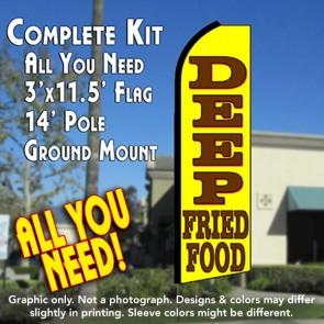 DEEP FRIED FOODS Flutter Feather Banner Flag Kit (Flag, Pole, & Ground Mt)