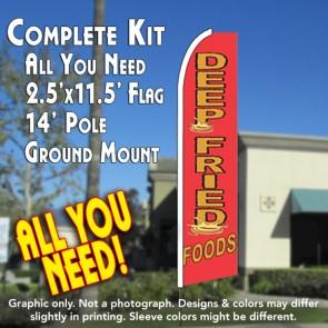 DEEP FRIED FOOD Flutter Feather Banner Flag Kit (Flag, Pole, & Ground Mt)