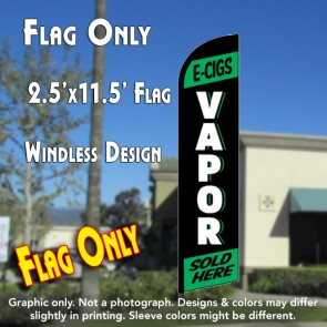E-CIGS VAPOR (Green) Windless Feather Banner Flag (2.5 x 11.5 Feet)