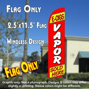 E-CIGS VAPOR SOLD HERE (Red/Yellow) Windless Polyknit Feather Flag (2.5 x 11.5 feet)