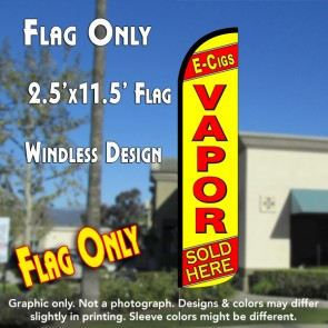 E-CIGS VAPOR SOLD HERE (Yellow/Red) Windless Polyknit Feather Flag (2.5 x 11.5 feet)