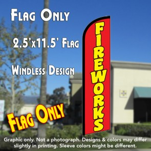 FIREWORKS (Red) Windless Feather Banner Flag (2.5 x 11.5 Feet)