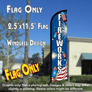 Fireworks (Rockets) Windless Feather Banner Flag (2.5 x 11.5 Feet)