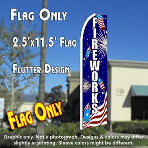 FIREWORKS (Sparklers) Flutter Feather Banner Flag (11.5 x 2.5 Feet)