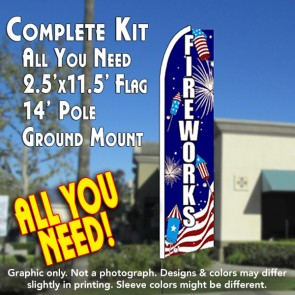FIREWORKS (Sparklers) Flutter Feather Banner Flag Kit (Flag, Pole, & Ground Mt)
