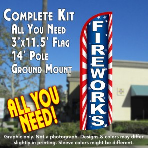 Fireworks (Starburst) Windless Feather Banner Flag Kit (Flag, Pole, & Ground Mt)