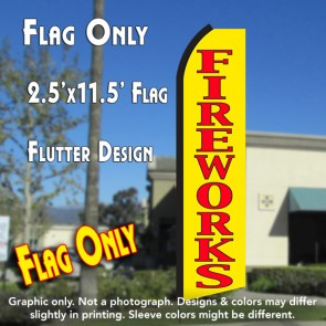 FIREWORKS (Yellow/Red) Flutter Polyknit Feather Flag (11.5 x 2.5 feet)